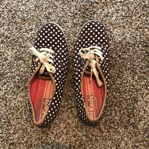 Size 7.5 brown polka dot keds